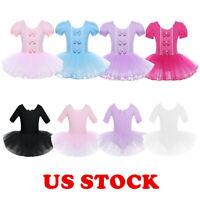 US Girls Ballet Dance Tutu Dress Kids Gym Short Sleeve Leotard Dancewear Costume