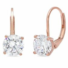 Dangle Earring Solid 14k Rose Gold 2ct Round Brilliant Cut Leverback Drop
