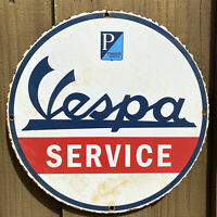 VINTAGE VESPA PORCELAIN SIGN MOTOR SCOOTER OIL GAS PUMP PLATE PETROLIANA FARM
