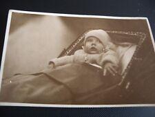 Original 1930's photo of carriage built pram and baby private RPPC Sepia