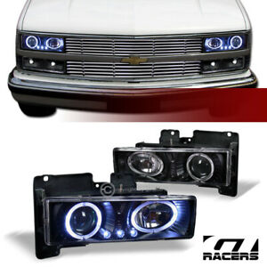 For 1988-1993 Chevy/GMC C10 CK C/K Black LED Halo Projector Headlights Lamps k2