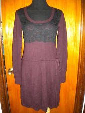Victoria's Secret Wine Kiss of Cashmere Lace Drawstring Sweater Dress XS S New