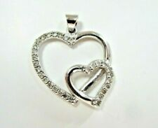 L@@K Gorgeous Real 10K White Gold 2 Open Hearts w/ Diamonds Pendant women love