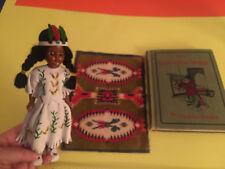CARLSON Native American  Doll w/ Beads / Leather, LITTLE WEAVER BOOK, felt rug