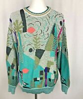 St Croix La Femme Mens S Vtg 80s 90s Sweater Bright Colorful Geometric Abstract