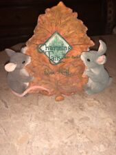 Charming Tails Big Leaf Display Sign Dean Griff Mouse Bunny Figurine Fall Autumn