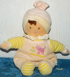 "Russ Plush Baby Doll YELLOW Lovey Rattle BROWN HAIR CAT FLOWER TOY 11"" DEBRA"