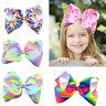 1Pc Girls Rainbow Bows Hair Clip large Fabric Grosgrain Ribbon Bow Hairpin s/#.