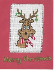 Finished Cross Stitch Christmas Card - Merry Christmas Reindeer