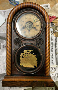 "Rare VINTAGE ANTIQUE E. Ingerham Mantle Clock 30 Hr  16"" Tall GWO Mosaic Front"