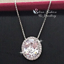 925 Sterling Silver AAA Grade Cubic Zirconia Extra Shiny Oval Cut Halo Necklace
