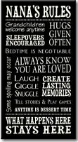Nana's Rules-8.5 x 16 Decorative Sign