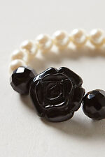 Anthropologie Faux Pearls Black Rose Elastic Beaded Bracelet By Marina Fossati
