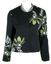 DOROTHEE SCHUMACHER Midnight Blue Floral Jacquard Snap Front Jacket 2