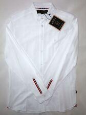 Merc London Para Hombre Pique Botones Camisa en Blanco Talla M Nuevo Con Etiquetas