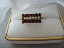 Vntage Victorian Bohemian Garnet Seed Pearl Sterling Silver Ring