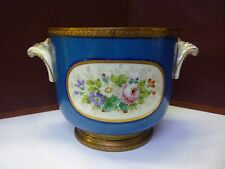 Small Antique Bronze Ormolu Mounted Sevres Porcelain Cachepot