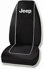 Jeep White Logo Single Car Truck Front Bucket Black Seat Cover