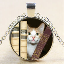 Photo Cabochon Glass Silver Chain Pendant Necklace(cute Cat and books