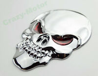 Motorcycle Chrome 3D Metal Skull Fuel Tank Fairing 3M Decal Sticker Emblem 8cm