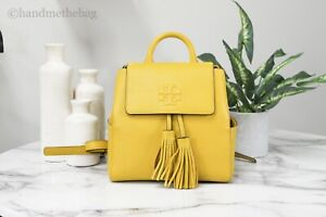 Tory Burch (67302) Thea Mini Pebbled Leather Daylily Yellow Backpack Bag