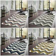 Zig Zag Thick Quality Modern Carved Rug Runner Small Large Soft Living Room Rugs