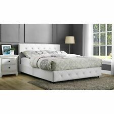 DHP Dakota Faux Leather Platform Bed with Wooden Slat Support - White  -...