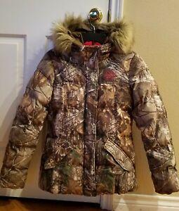 Womens Small 34/36 EUC Realtree Xtra Hooded Camo Puffer Bubble Lined Jacket Coat