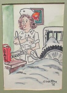 SC WATSON NURSE GASING UP A MOTORCYCLE WATERCOLOR ILLUSTRATION PAINTINGS 1976