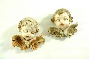 Vintage FONTANINI Depose Italy Boy & Girl Angel Cherubs Wall Plaques Figurine