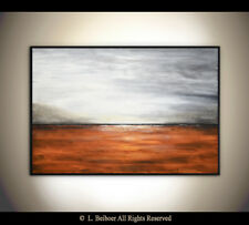 ORIGINAL ABSTRACT 24 x 36 LANDSCAPE PAINTING UMBER CANVAS FINE ART  L. Beiboer