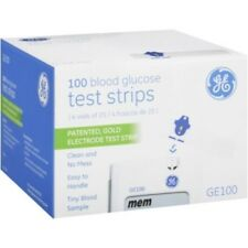 GE100 Blood Glucose Test Strips, Gold Electrode 100 Count, 02/19 Bionime NEW