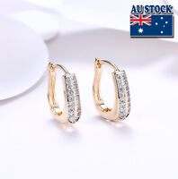 Elegant 18K Gold Filled GF GP Huggie Hoop Earrings With Zircon CZ Crystal