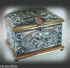 Vintage victorian jewelty box - silver over brass, gilt