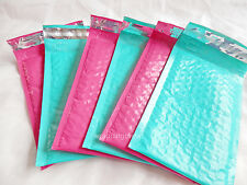 10 Hot Pink and Teal 4x8 Bubble Mailers, Padded Shipping Mailing Envelopes #000