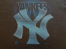 VTG 90s NY New York Yankees Big Logo Print Tee T Shirt Black X-Large Made In USA