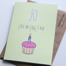 30th Funny Birthday Card... F*ck me that's old! Humour, Rude Card, CardyGoons