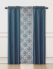 3 Piece Window Treatment Set 2 Faux Silk& 1 Printed Voile/sheer Panel  (Blue)