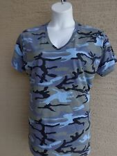 Women's Port & Co.  Cotton S/S V Neck Navy Multi  Colored Camo Tee Shirt 3X