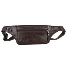 Mens Genuine Leather Sling Chest Bag Anti-thief Hip Belt Fanny Pack Waist Purse
