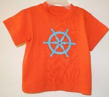 * New * Kelly's Kids David Tangerine Tango Ship Wheel Applique Shirt ~ Sz 12M