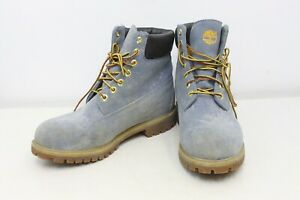 Timberland Boots Mens US Size 9.5 Blue Jean Look Yellow Accent Outdoor Hiking