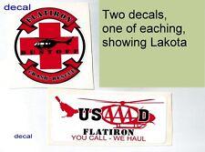 TWO Decals not patches Army Aviation Flatiron Dustoff Crash Rescue LAKOTA