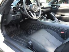 Quilted Leather Floor mats for Mazda Miata MX-5 ND Mk4 Classic Black