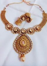 Antique Indian Jewelry Necklace Set Bollywood Ethnic Gold Plated Traditional
