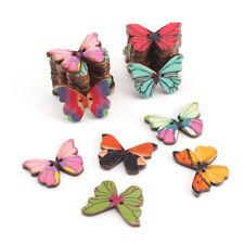 50X Mixed Bulk 2 Holes Butterfly Phantom Wooden Sewing Buttons Scrapbooking UK