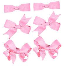 6 Pieza/3 pares conjunto pequeño de arcos del pelo niñas escuela clips de cinta del grosgrain colores