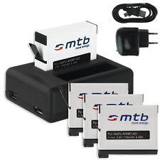 4x Batteria + Caricatore doppio (Black) AHDBT-401 / AHDBT401 per GoPro Hero 4
