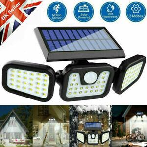 UK 74 LED Solar Power PIR Motion Sensor Lamp Outdoor Garden Security Wall Light