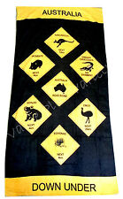 Australian Souvenir Australia Down Under Animals Road Sign Cotton Beach Towel